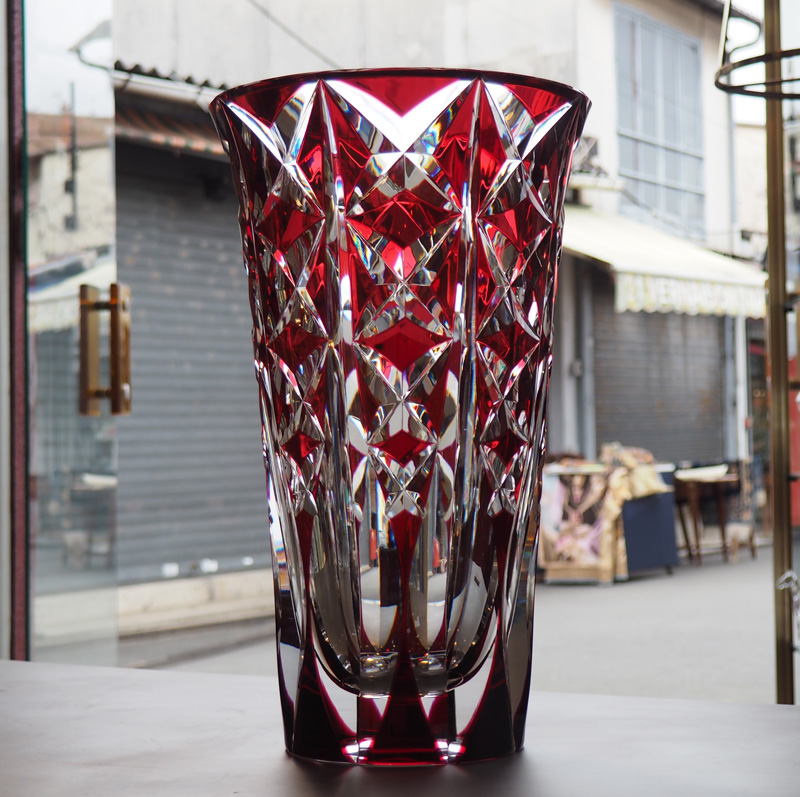Very Nice Saint Louis Crystal Vase Deauville Red 40 Cm Galerie