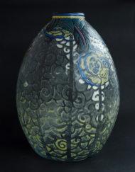 Exceptionnel vase Andre Delatte Nancy Art Deco email Enameled Glass Galerie Maxime Marché Vernaison