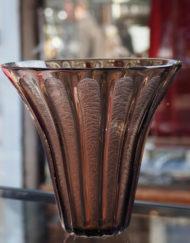 Vase Art Déco Daum Nancy marron gravé à l'acide Galerie Maxime Marché Vernaison