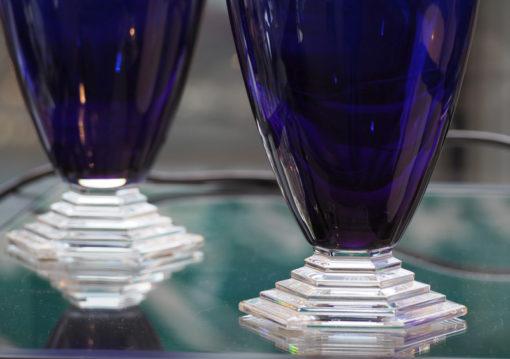 Paire Vases Cristal Baccarat bleus Galerie Maxime marché vernaison