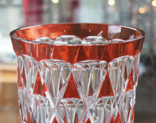 Vase Cristal Val Saint Lambert orange Galerie Maxime Marché Vernaison