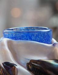 Vase Jean Claude Novaro blanc bleu marron Galerie Maxime Marché Vernaison
