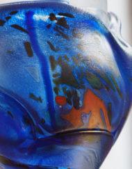 Vase Jean Claude Novaro blanc bleu orange Galerie Maxime Marché Vernaison