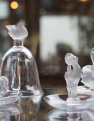 Baguiers Cloche Cygnes Moineau Cristal Lalique France Galerie Maxime Marché Vernaison