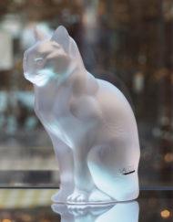 Chat Assis Cristal Lalique Galerie Maxime Marché Vernaison