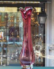 Vase Cristal Val Saint Lambert 1970 rouge Galerie Maxime Marché Vernaison