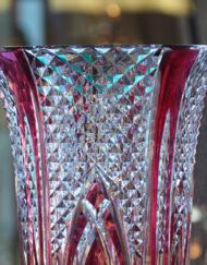 Vase Cristal Val Saint Lambert rouge Galerie Maxime Marché Vernaison