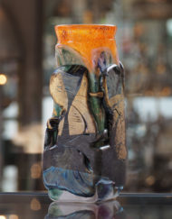 Vase Jean Claude Novaro Compression orange or Galerie Maxime Marché Vernaison
