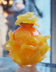 Flacon Jean Claude Novaro Jaune Orange Fleur Galerie Maxime Marché Vernaison