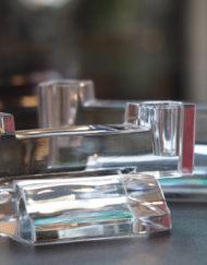 Paire bougeoirs Cristal Baccarat Art Déco Galerie Maxime Marché Vernaison